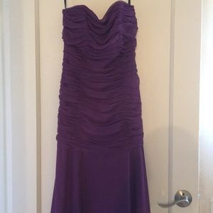 Elegant evening gown with purple straps
